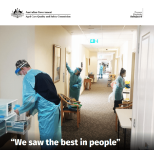 Aged care workers in PPE during COVID-19